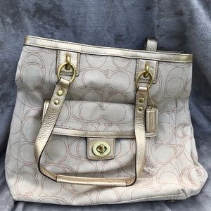 Coach Penelope Linen Signature Tote New W/ Tag
